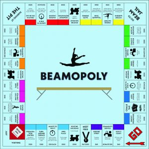 monopoly game board adapted for gymnastics and named beamopoly